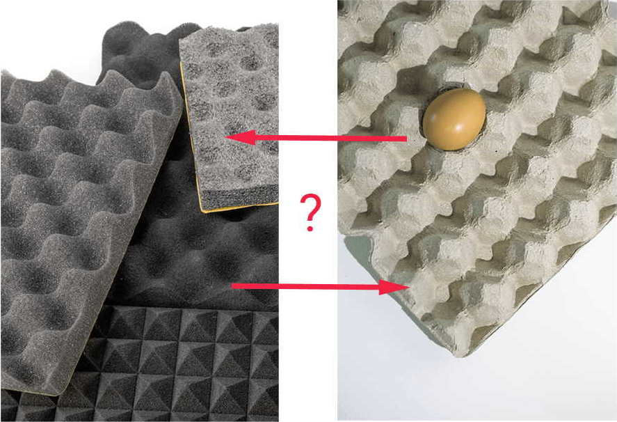 egg cartons shape for soundproofing
